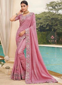 Pink Silk Embroidered Work Border Designer Saree