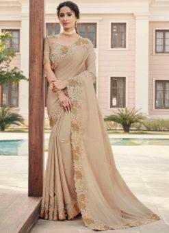 Beige Silk Embroidered Work Broder Designer Saree