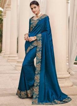 Blue Silk Embroidered Work Broder Designer Saree
