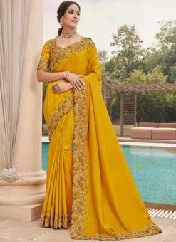 Yellow Silk Embroidered Work Broder Designer Saree