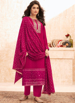 Pink Designer Embroidered Work Georgette Salwar Suit