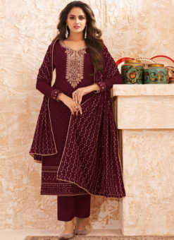 Magenta Georgette Embroidered Work Designer Salwar Suit