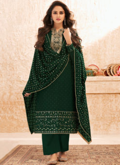 Green Designer Embroidered Work Party Wear Georgette Salwar Suit