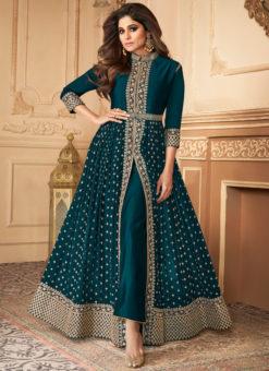 Anokhi Teal Silk Georgette Embroidered Work Designer Anarkali Suit