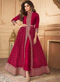 Anokhi Maroon Designer Embroidered Work Georgette Anarkali Suit