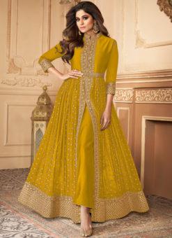 Anokhi Mustard Designer Georgette Embroidered Wok Anarkali Suit