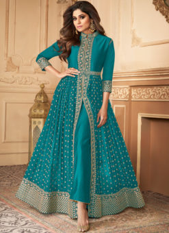 Anokhi Blue Party Wear Embroidered Work Georgette Anarkal Suit
