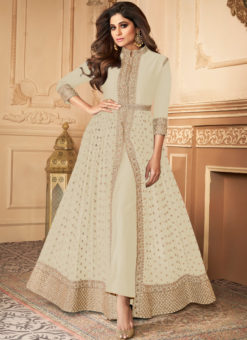 Anokhi Off White Designer Georgette Embroidered Work Anarkali Suit