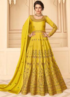 Aashirwad Yellow Embroidered Work Party Wear Silk Anarkali Suit