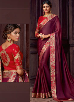 Wine Satin Silk Embroidered Work Border Party Wear Saree