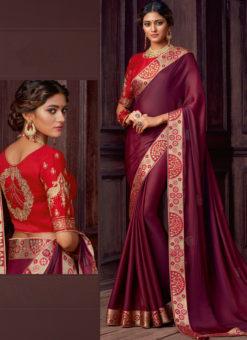 Wine Satin Silk Embroidered Work Border Party Wear Saree