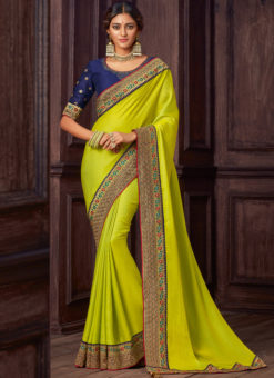 Green Satin Silk Embroidered Work Border Party Wear Saree