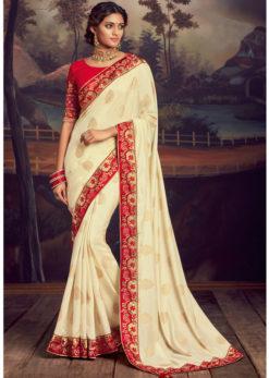Off White Satin Silk Embroidered Work Border Party Wear Saree