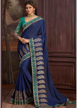 Blue Satin Silk Embroidered Work Border Party Wear Saree