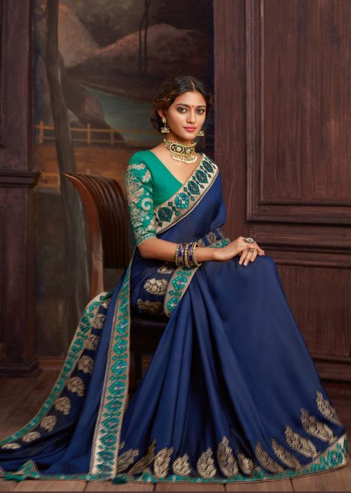 Blue Satin Silk Embroidered Work Border Party Wear Saree