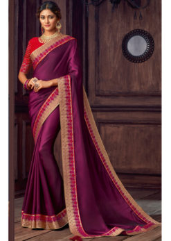 Purple Satin Silk Embroidered Work Party Wear Saree