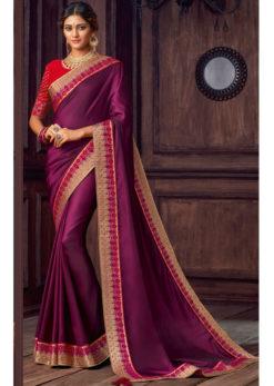 Purple Satin Silk Embroidered Work Party Wear Saree