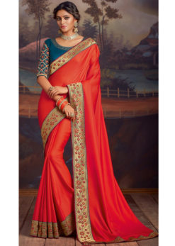 Red Satin Silk Embroidered Work Border Party Wear Saree