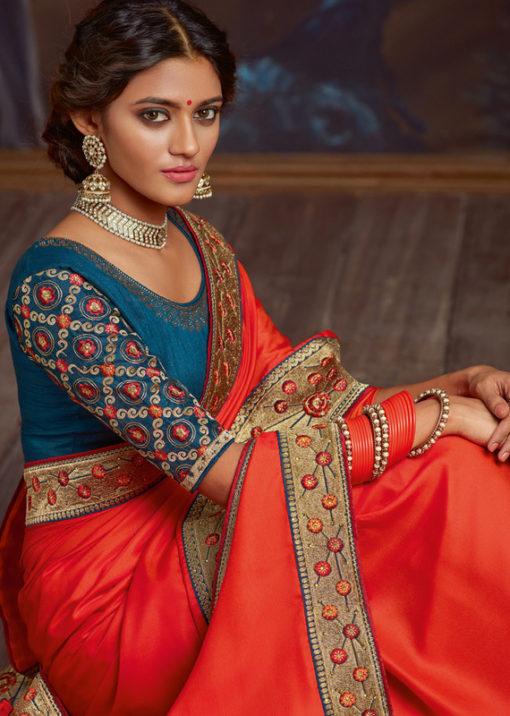 Red Satin Silk Embroidered Work Border Party Wear Saree