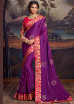 Purple Embroidered Work Border Designer Party Wear Saree