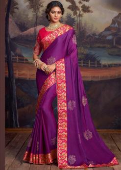Purple Embroidered Work Border Designer Party Wear Saree
