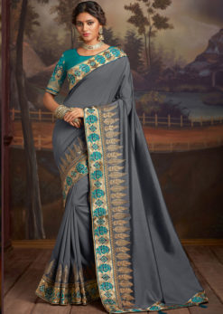 Grey Satin Silk Embroidered Work Border Party Wear Saree