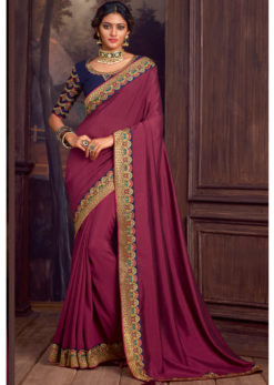 Wine Embroidered Work Border Party Wear Satin Silk Saree