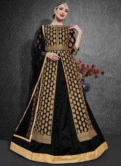 Black Silk Zari Weaving Designer Party Wear Lehenga Choli