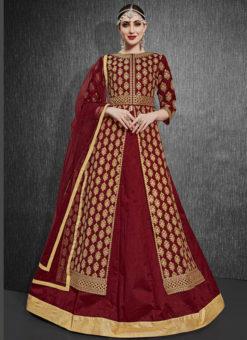 Maroon Silk Zari Weaving Designer Party Wear Lehenga Choli