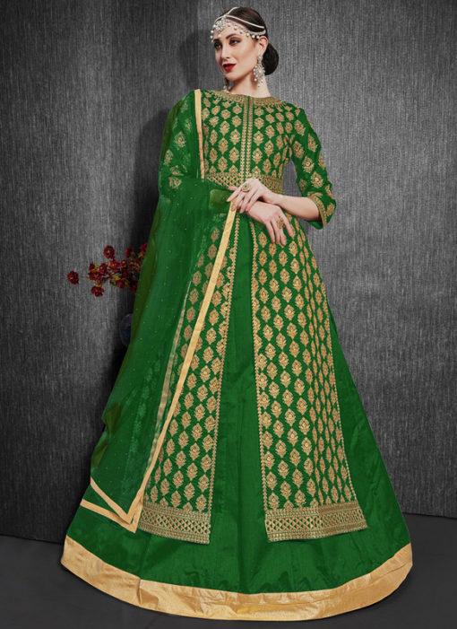 Green Silk Designer Zari Weaving Party Wear Lehenga Choli