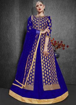 Blue Zari Weaving Designer Party Wear Silk Lehenga Choli
