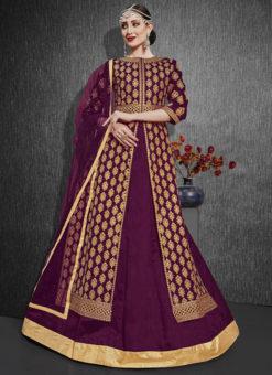 Purple Designer Zari Weaving Party Wear Silk Lehenga Choli