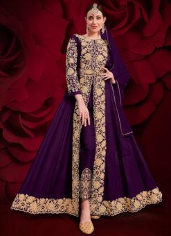 Purple Embroidered Work Georgette Party Wear Anarkali Suit