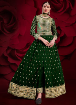 Embroidered Work Green Party Wear Georgette Anarkali Suit