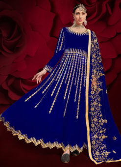 Georgette Embroidered Work Party Wear Blue Anarkali Suit