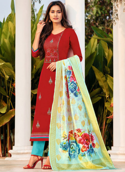 Party Wear Red Cotton Embroidered Work Casual Wear Salwar Suit