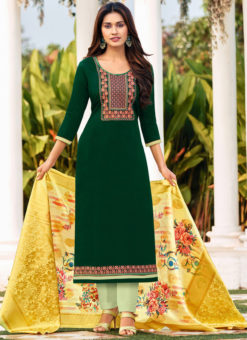 Green Cotton Party Wear Cotton Embroidered Work Salwar Suit