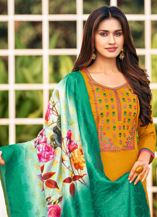 Embroidered Work Cotton Party Wear Yellow Salwar Suit