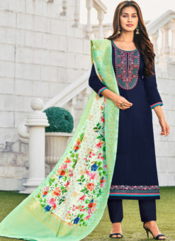 Cotton Embroidered Work Party Wear Blue Salwar Suit