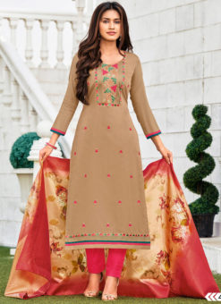 Beige Cotton Party Wear Embroidered Work Salwar Suit