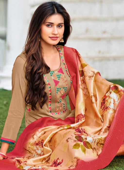 Beige Cotton Party Wear Embroidered Work Salwar Suit