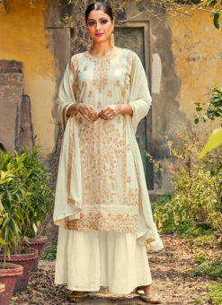 White Georgette Embroidered Work Party Wear Designer Palazzo Suit