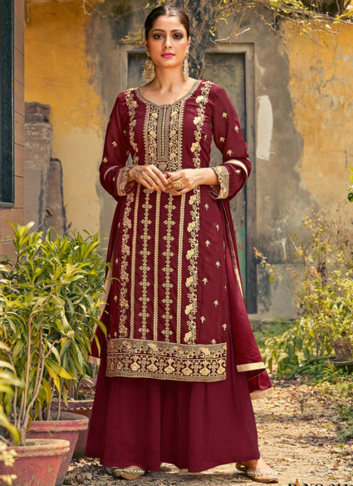 Designer Embroidered Work Maroon Party Wear Georgette Palazzo Suit