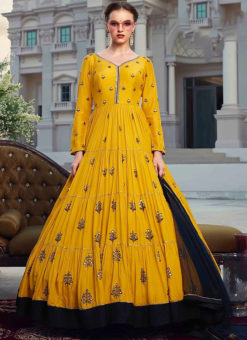Musterd Georgette Embroidered Designer Gown