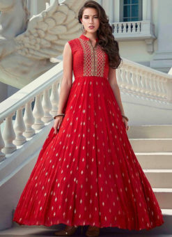 Red Designer Embroidered Work Party Wear Georgette Gown
