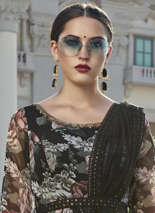 Designer Cotton Embroidered Work Party Wear Black Gown