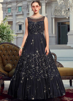 Navy Blue Chinon Party Wear Embroidered Work Designer Gown