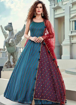 Blue Embroidered Work Party Wear Silk Designer Gown