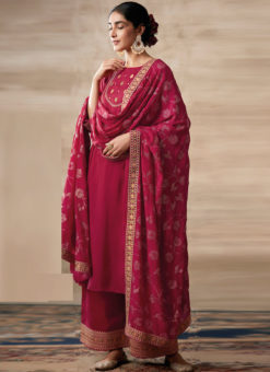 Partywear Designer Embroidery Rich Red Heavy Chinon Salwar Suit