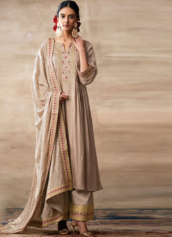 Partywear Designer Embroidery Cream Heavy Chinon Salwar Suit